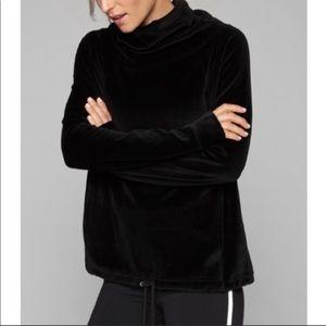 Athleta Black Velour Funnel Neck Sweatshirt Small